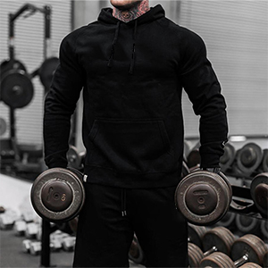 Babioboa Mens Athletic Hoodie Dry Fit Moisture Wicking Long Sleeve Active Pullover Sweatshirt