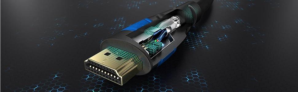 KabelDirekt 2 m 48G, 8K@60 Hz, Tout dernier Standard, Officiellement licenci/é//test/é pour Une qualit/é optimale, id/éal pour la PS5//Xbox, Bleu//Noir certifi/é C/âble HDMI 2.1 8K Ultra High Speed