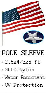 VSVO US American Flags with Pole Sleeve
