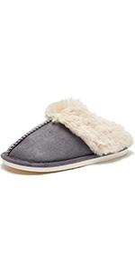 Slip on Fuzzy House Slippers for Women Men with Memory Foam Warm Cozy Non-Slip Faux Fur Bedroom Home