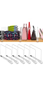 6PACK Clear Acrylic Shelf Premium Dividers Multi-Functional NO Install