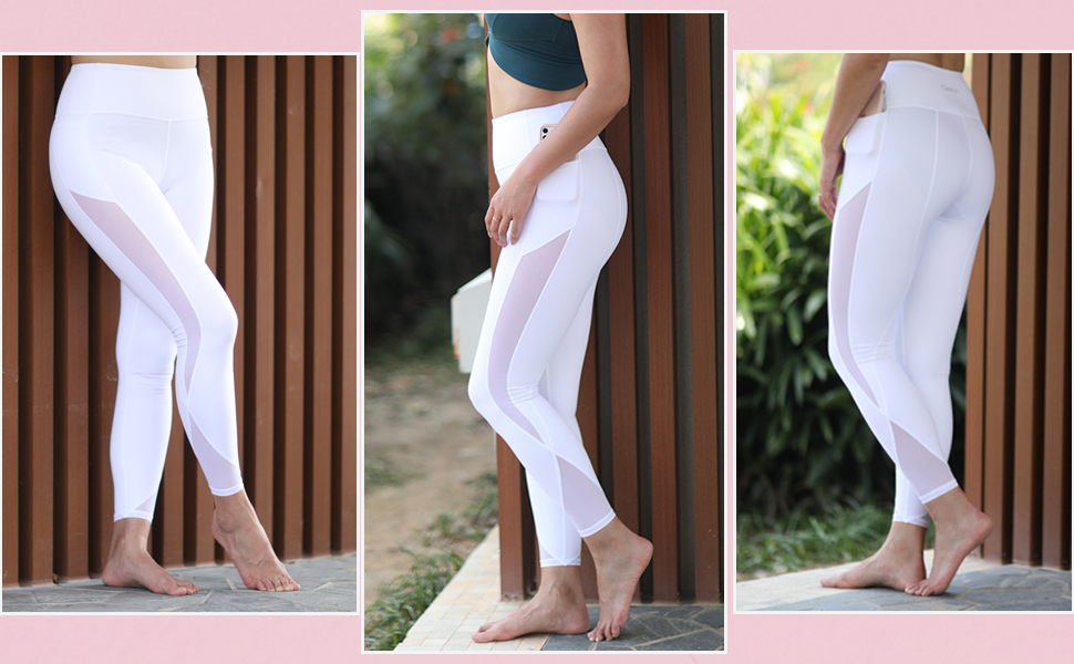 soft yoga leggings with pockets squat proof mesh workout pants