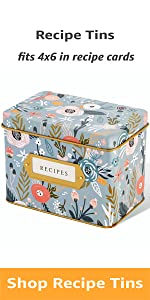 Garden Floral Decorative Tin for Recipe Cards Holds Hundreds of 4x6 Cards