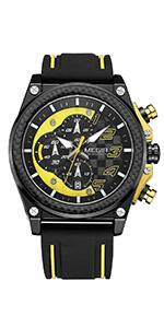 MEGIR Men's Chronograph Watches Military Sports Quartz Analog Wristwatches with Silicone Band
