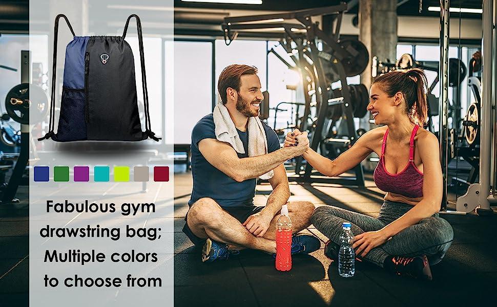Large drawstring backpack bag for gym sports