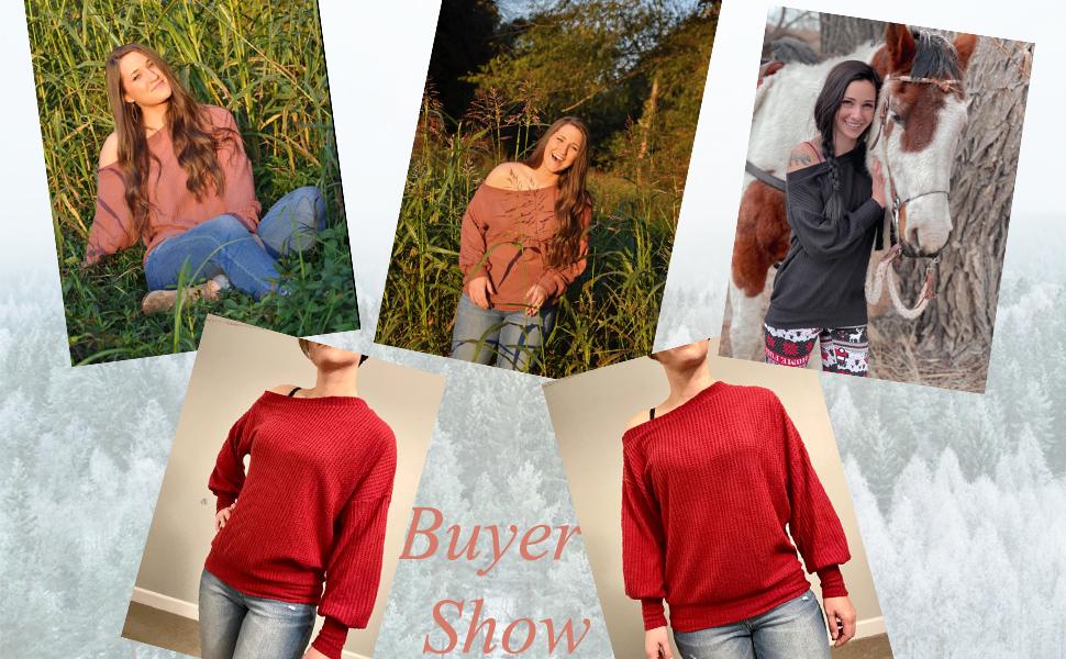 women off shoulder sweater tops