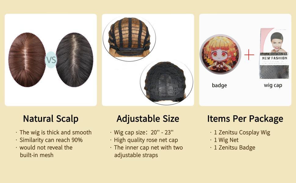 Zenitsu Cosplay wig Short Orange Wig information