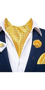 Gold yellow polka dot ascot tie and lapel pin set