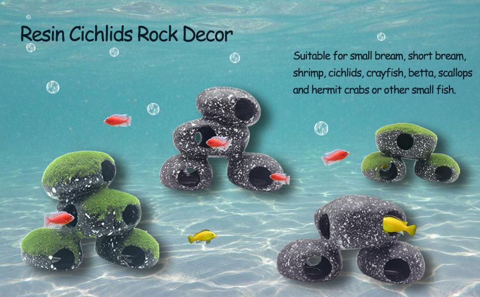 Resin Cichlids Rock Decor