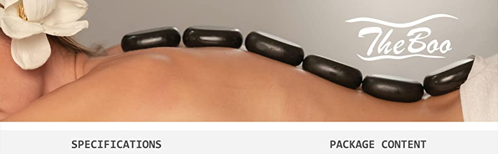 A girl lying in spa with stones on her back and TheBoo logo on the right side of the image