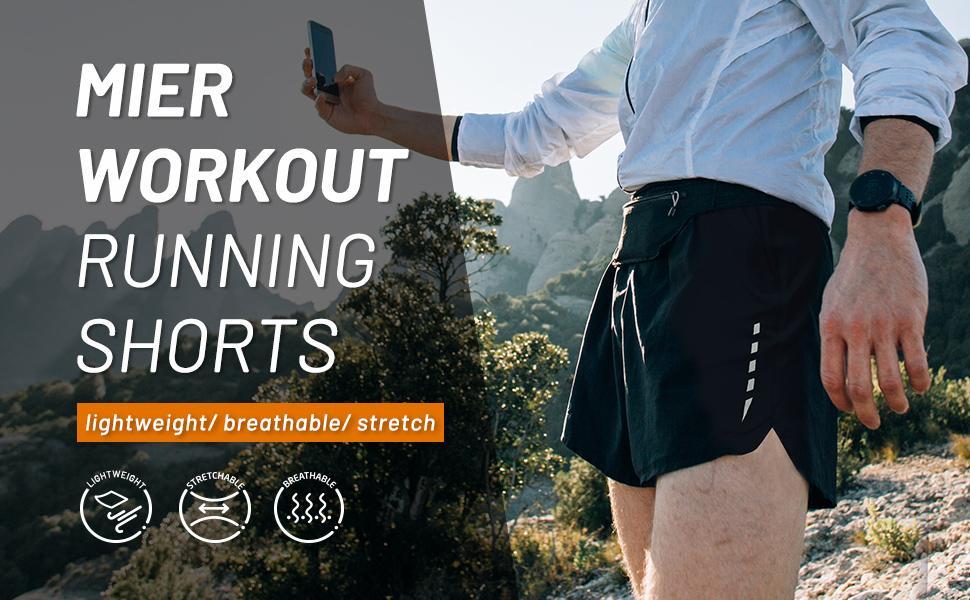 MIER mens workout running shorts