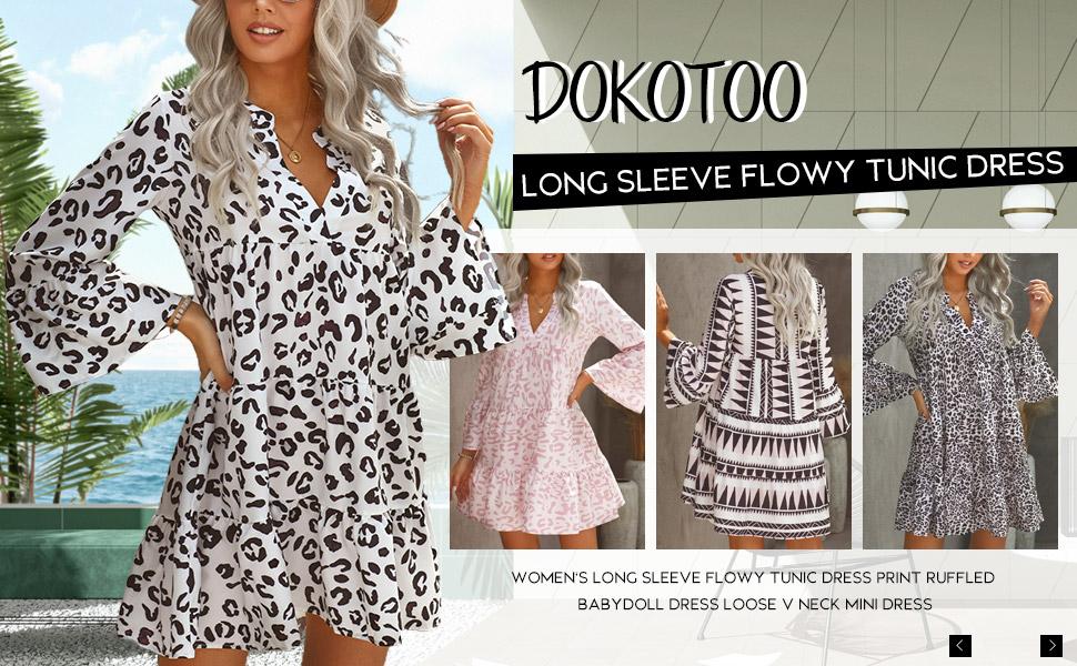 Dokotoo Women's Casual Dresses V Neck Leopard Floral Print Mini Dress Swing Babydoll Dress