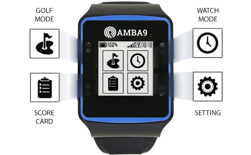 AMBA9 GOLF GPS WATCH MAIN MENU SCREEN DISPLAY
