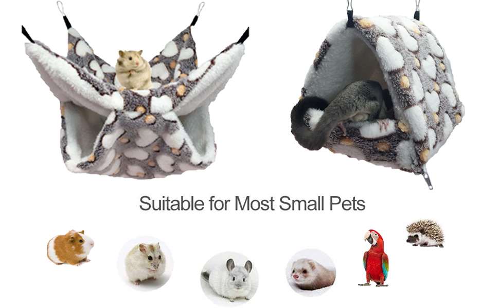2 Pieces Small Pet Cage Hammock Guinea Pig Bed Hideout