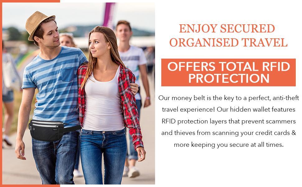 Secured Organised Travel with TRAVELiO RFID Blocking Money Belt Passport Oraganizer