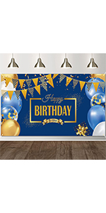 navy and gold happy birthday banner backdrop photo booth props