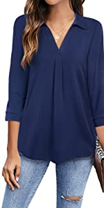 Timeson Women's V Neck Blouse 3/4 Sleeve Tunic Tops Ladies Work Shirts