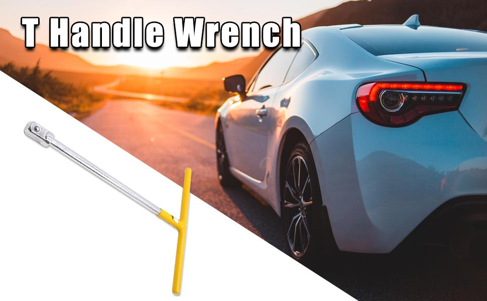 """Yellow Silver Tone 1/2"""" Square Drive T Handle Wrench Spanner Repairing Tool for Car"""