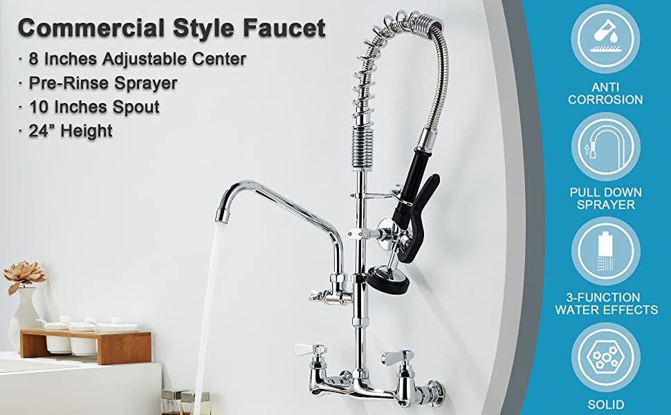 commercial faucet with sprayer