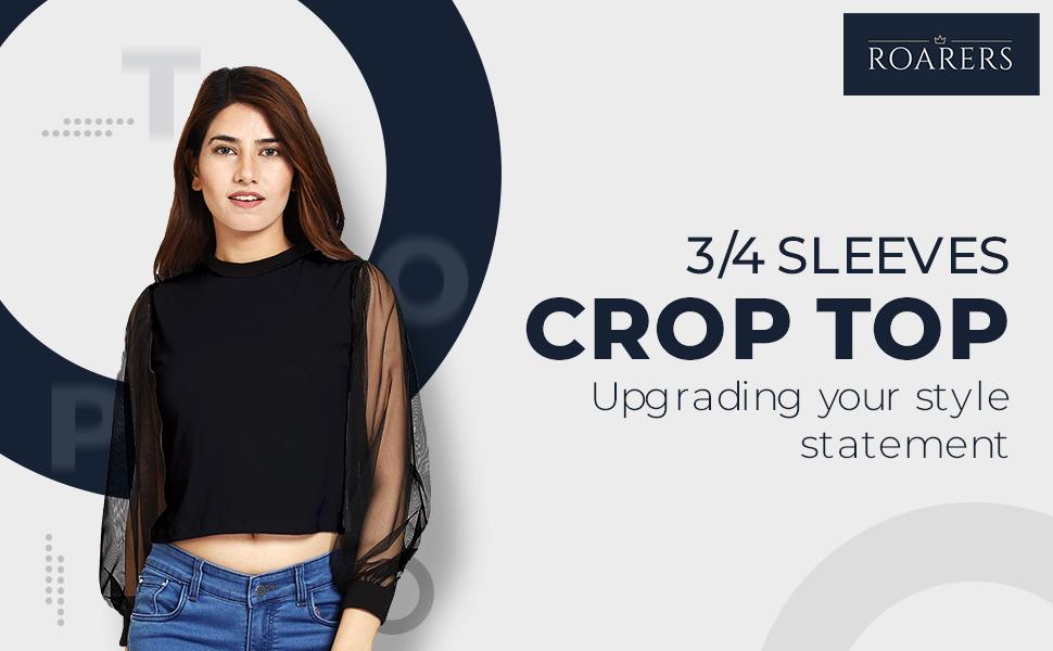 ROARERS Black Cotton NET 3/4 Sleeves Crop TOP SPN-FOR1