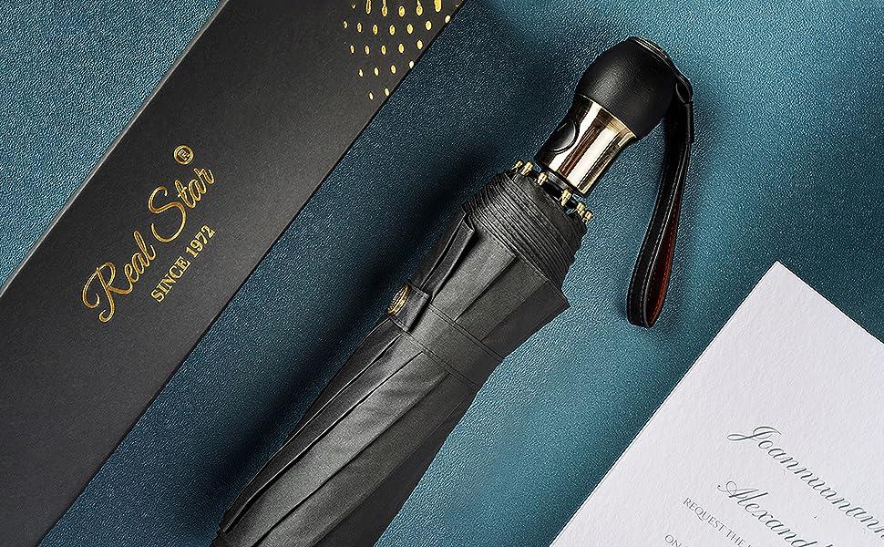 Leather Handle Folding Travel Umbrella Black