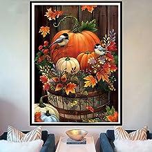 Diamond Painting Kits for Adults,Halloween Pumpkin Bird Full Drill Round Diamond