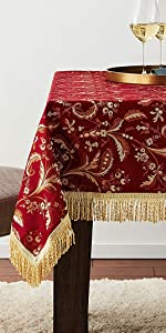 luxury burgundy table cloth