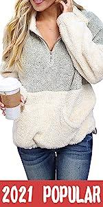 Contrast Color Zipper Pullover Tops