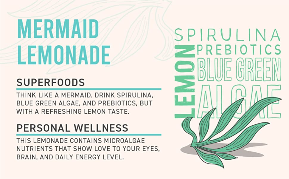"""Spirulina with graphic of ingredients. """"Mermaid Lemonade with Superfoods for Personal Wellness."""""""