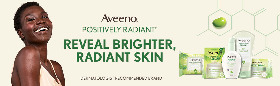Woman smiling. Reveal Brighter Radiant Skin - Aveeno Positively Radiant Skincare product line