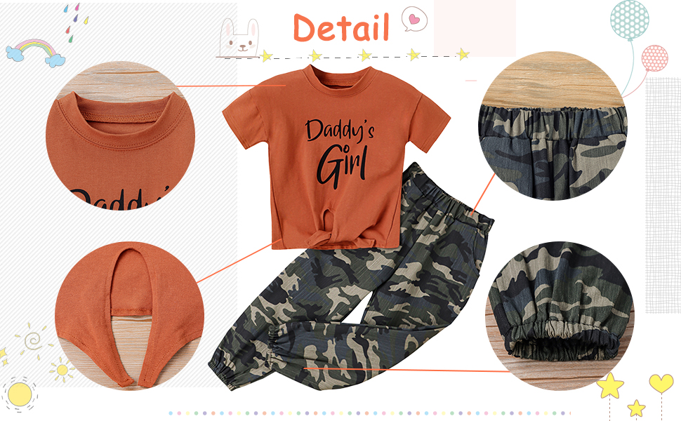 2 Pieces Outfit Summer Girls Letters Print Short T-Shirt + Camouflage Casual Pants,Clothing