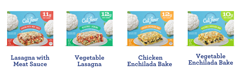 lasagna with meat sauce, vegetable lasagna, chicken enchilada, veggie enchiladas