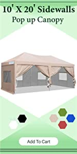 10x20 pop up canopy with sidewalls