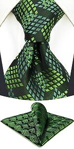 Green Black Tie Set for Men
