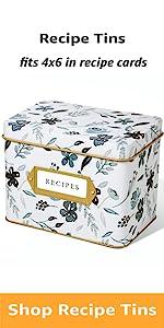 Indigo Floral Decorative Tin for Recipe Cards Holds Hundreds of 4x6 Cards