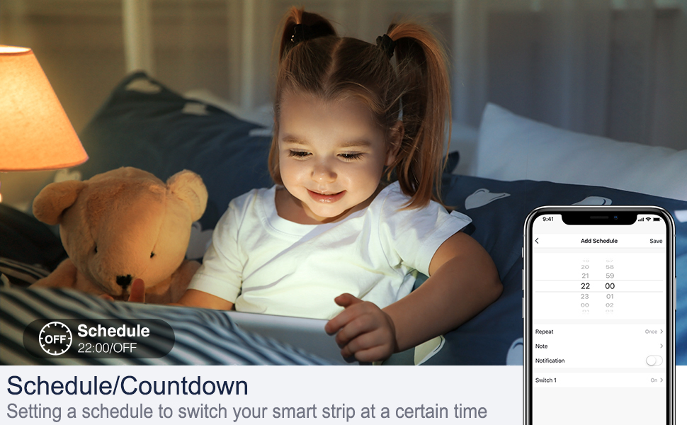 Setting a schedule to switch your smart strip at a certain time