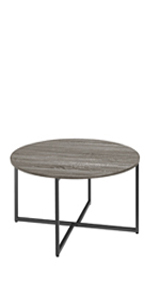 Rustic Round Coffee Table with Iron Leg