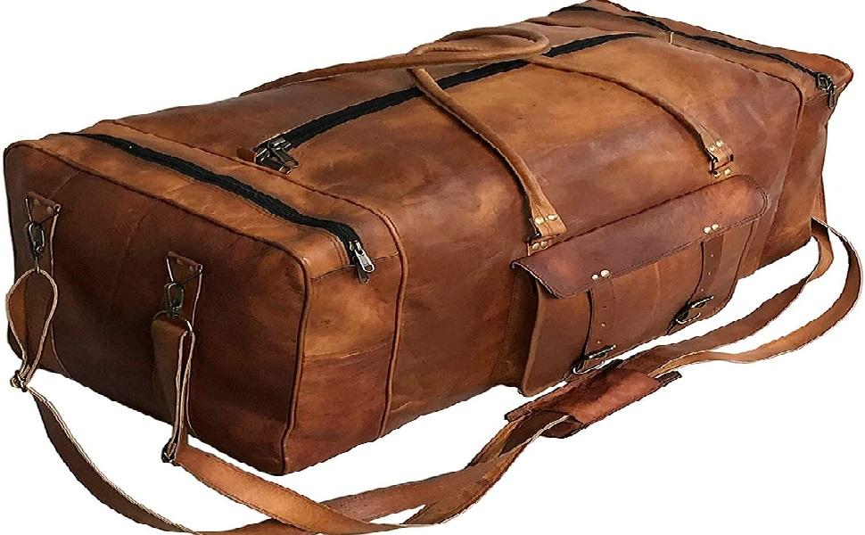 Large Leather 32 Inch Luggage Handmade Duffel