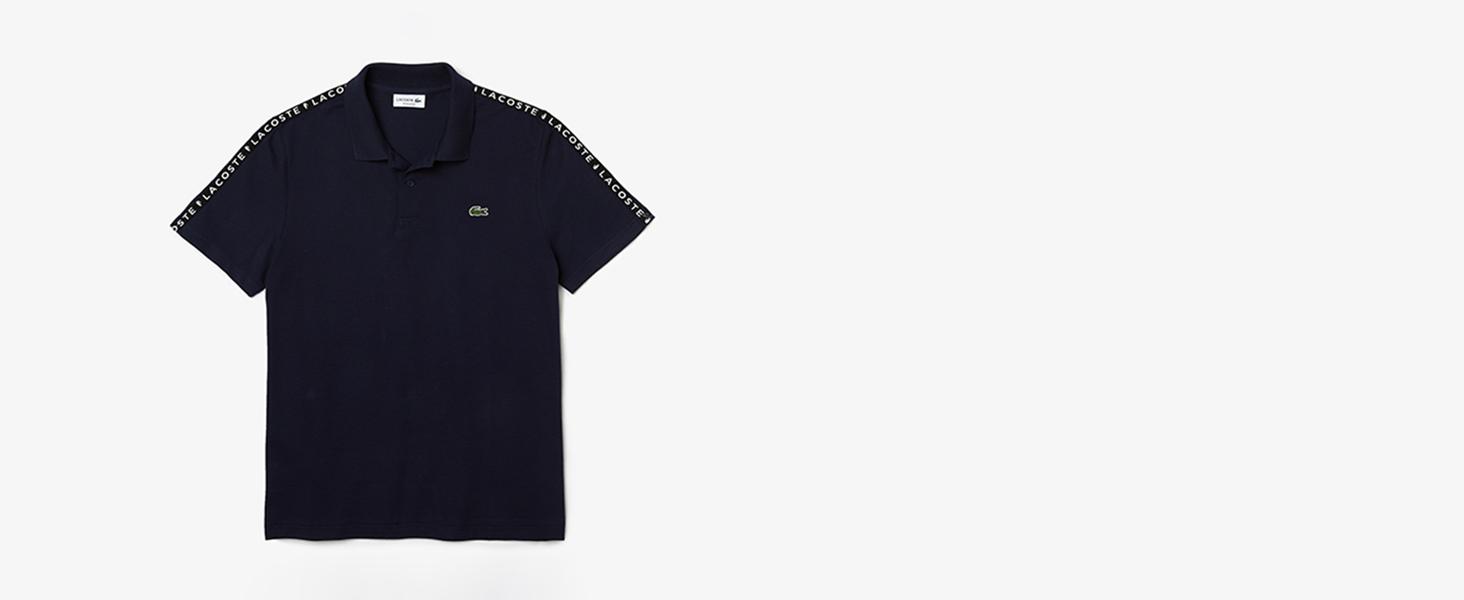 Men's black polo shirt with Lacoste shoulder logo
