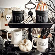 rustic halloween spooky tiered tray display with faux whip and fabric pumpkin boo cauldron