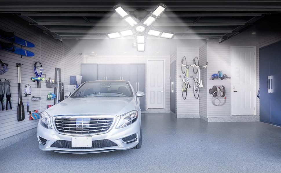 Garage Light- light up your garage, a grey car in garge