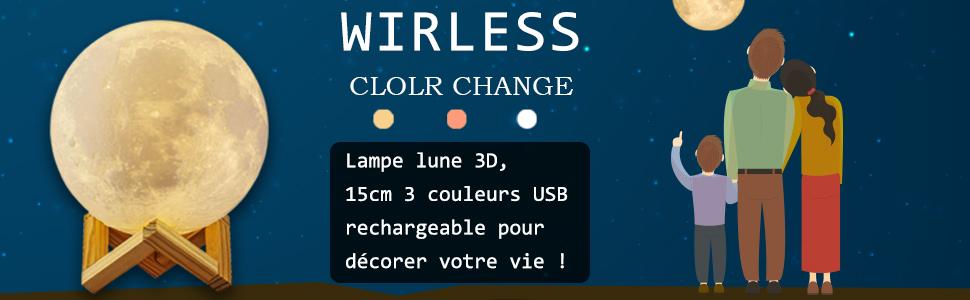 ALED LIGHT Veilleuse LED Lampe Lune Tactile 3 Couleurs 15cm USB Rechargeable pour Cadeau