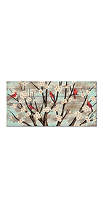 RyounoArt Red Bird Pictures Wall Decor