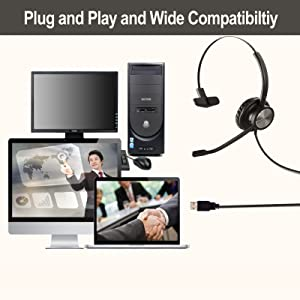 wired USB headset with mic for laptop dictation headset, headphone USB with microphone Dragon