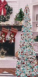 Joy-Leo 6ft Pop Up Chrismtas Tree - Silver Multicolored