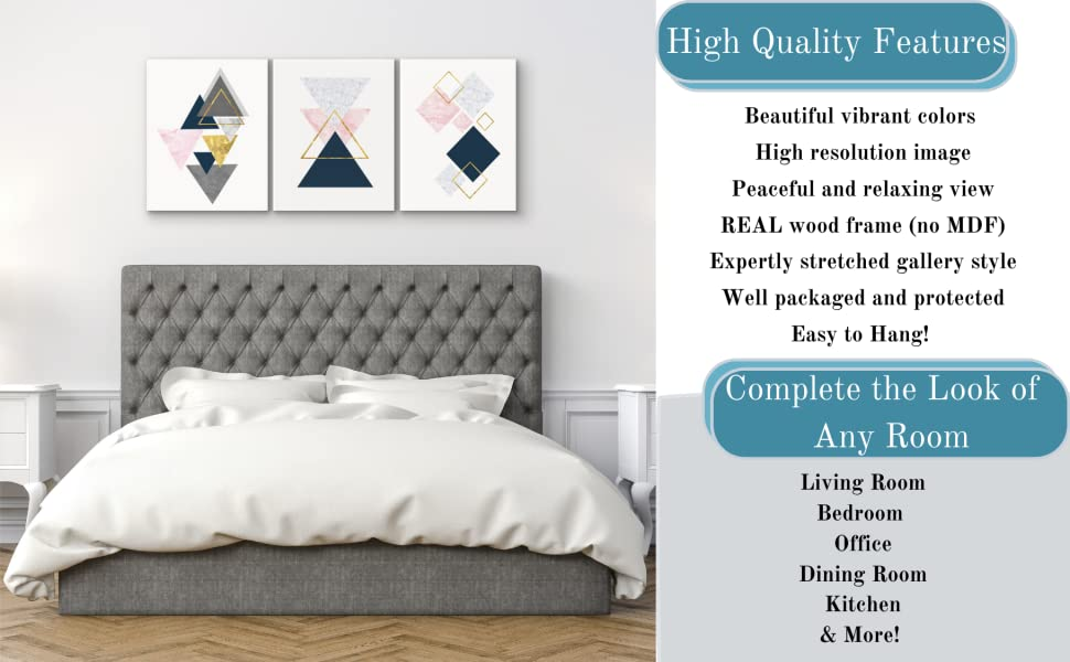 pink and gold abstract canvas art for bedroom gray navy