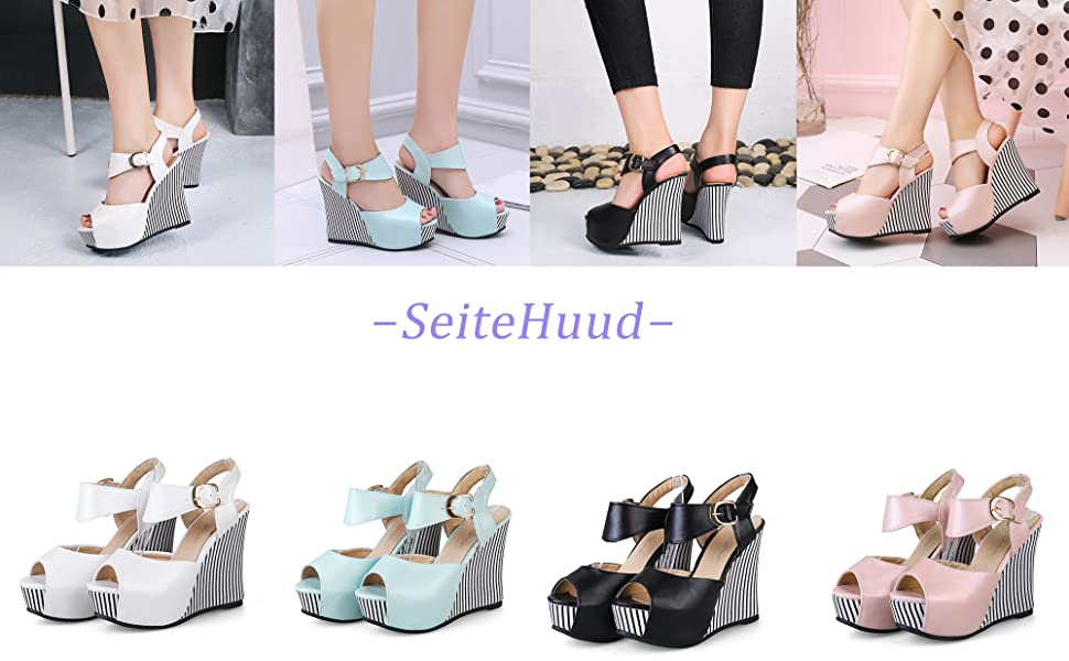 SeiteHuud Women Fashion Wedge Sandals Peep Toe T-Strap Platform High Heels Party Wedding Shoes