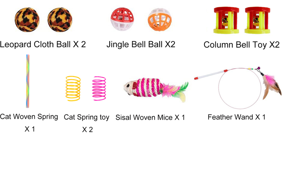 Cat Feather Teaser Wand Interactive Feather Toy Fluffy Mouse Crinkle Balls Bell Play for Cat
