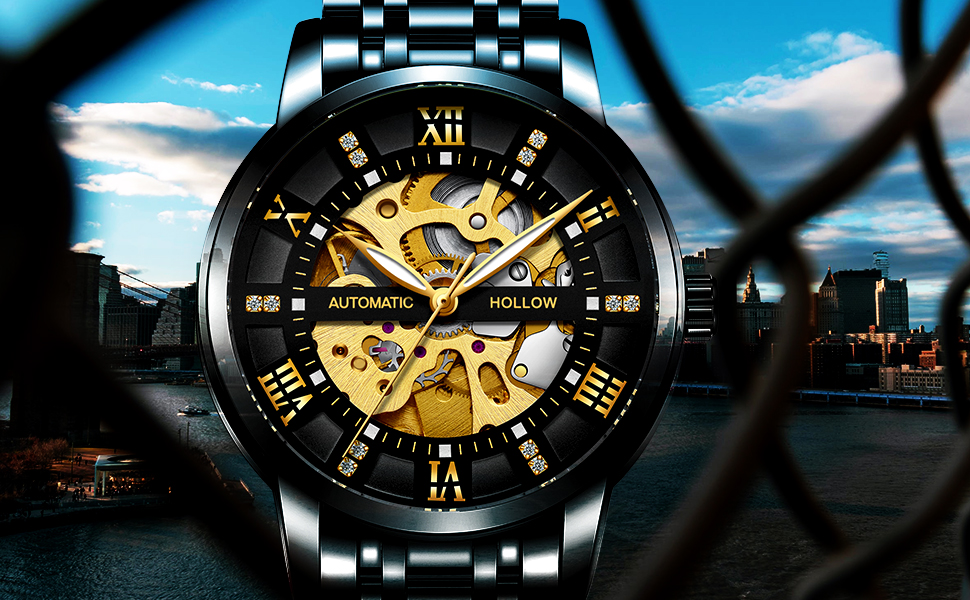Black stainless steel men's watch with diamond mechanical watch