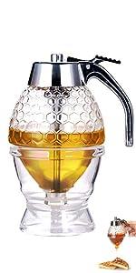 Honey Dispenser Maple Syrup Dispenser for Pancakes Honey Comb Shaped Honey Pot